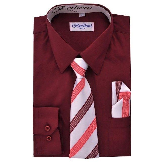 Berlioni Boys Italian Long Sleeve Dress Shirt With Tie /& Hanky
