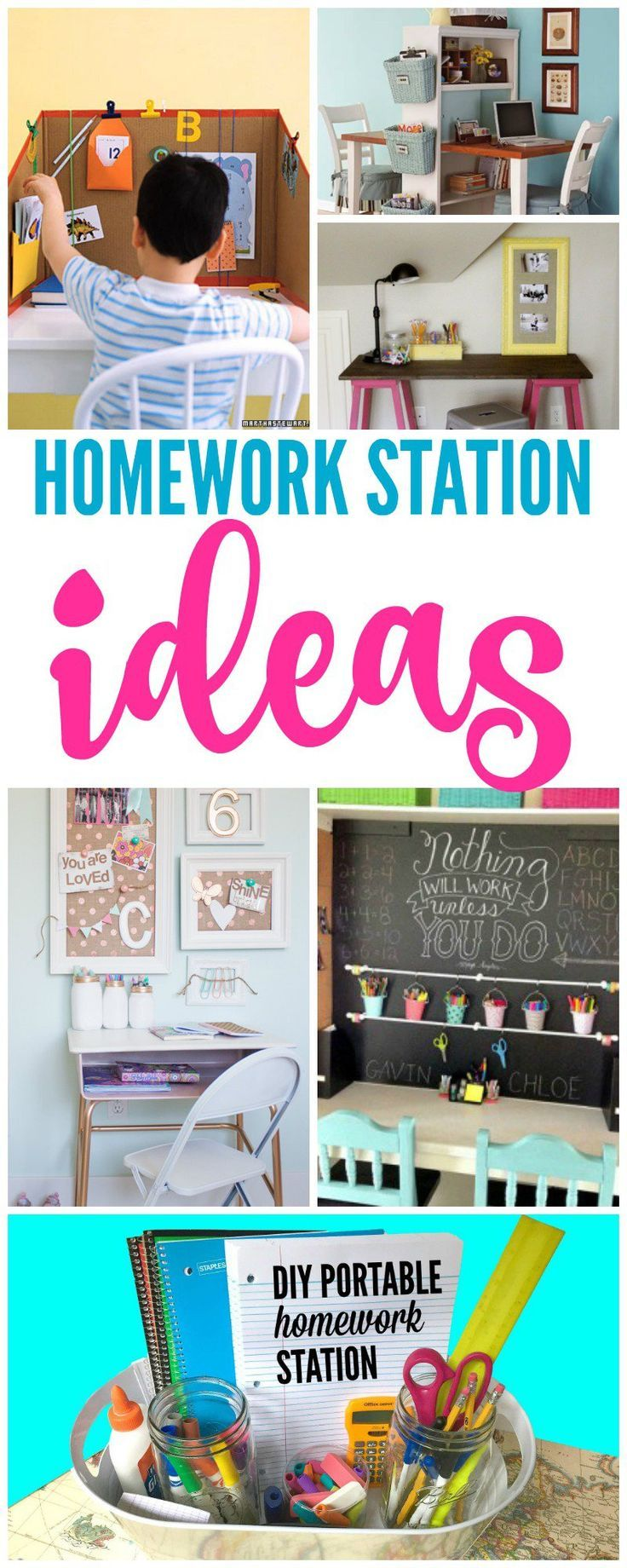 Homework Station! Back to School Tips and Tricks for Your Kids! Study Space that they will love!