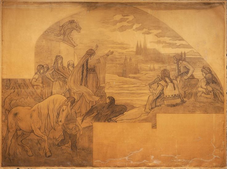 Libušino proroctví – karton k mozaice ve vestibulu Staroměstské radnice, 1904