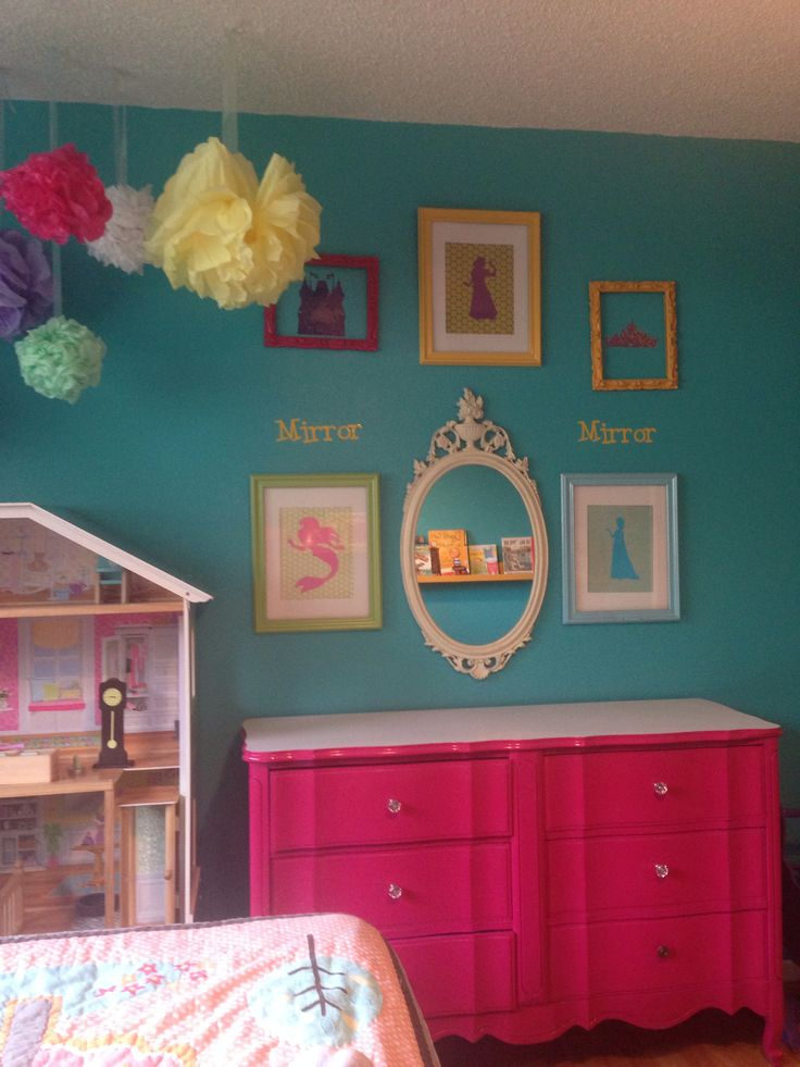 Princess gallery wall #girls room makeover #turquoise girls room # bright girls room