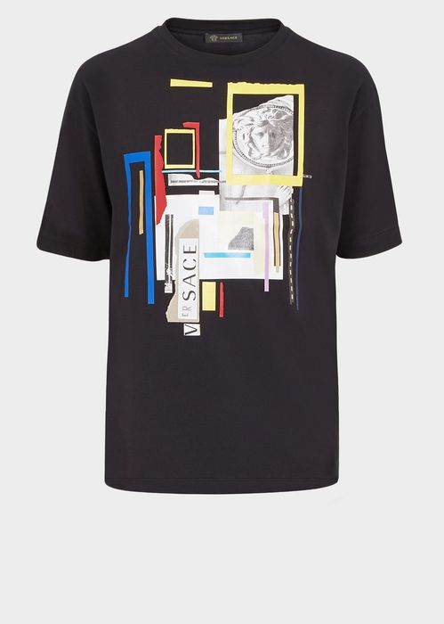 Versace JP Collage Print T-Shirt for Men | Official Website. Short sleeve, relaxed fit, round neck, cotton t-shirt with placed JP Collage Print graphic.