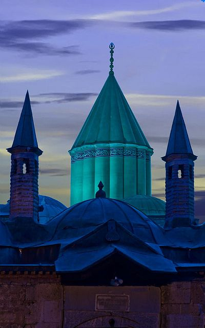 Mevlâna Museum in Konya, Turkey, is the mausoleum of Rumi, a Sufi mystic. Also the dervish lodge of the Mevlevi order known as the Whirling Dervishes.