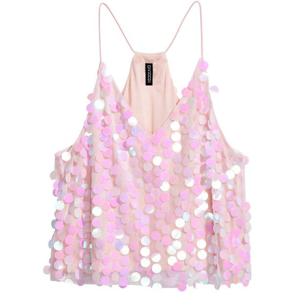 Mesh Top with Sequins $17.99 (£13) ❤ liked on Polyvore featuring tops, sequin camis, sequin cami top, v neck cami, racerback cami and pink top