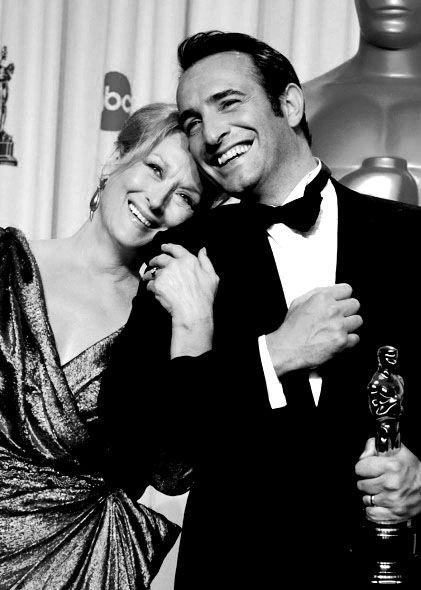 Meryl Streep et Jean DujardinFilm, A Mini-Saia Jeans, Jean Dujardin The Artist, Awards Winner, The Artists, Meryl 33, Meryl Streep Oscars, Glamorous People, Jeans Dujardin