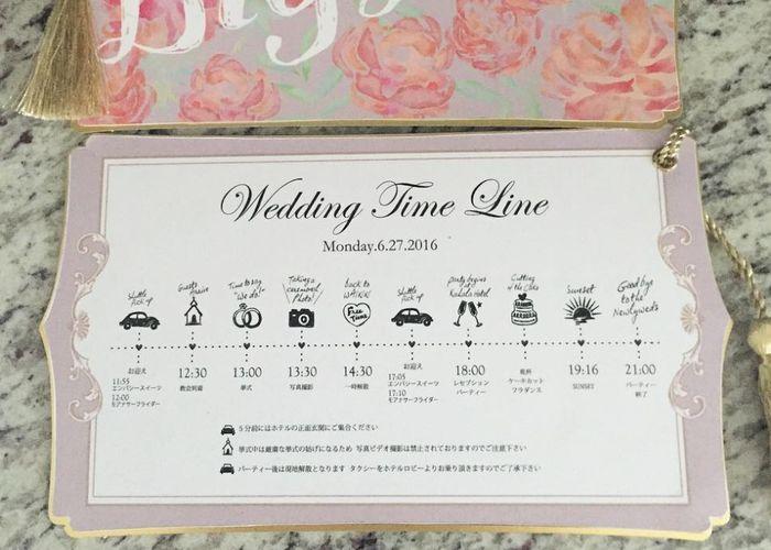 招待状と一緒に同封するのがイマドキ風*先輩花嫁さんの『タイムライン』のデザインが可愛すぎる♡