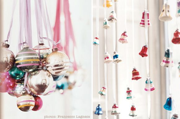 Glass handmade ornaments hung using decorative ribbons