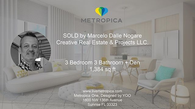 Metropica would like to highlight Marcelo Dalle Nogare from Creative Real Estate & Projects LLC for making a sale on an amazing 3 bedroom/3 bathroom + Den residence. Thank you for all your hard work! - posted by METROPICA https://www.instagram.com/livemetropica - See more Luxury Real Estate photos from Local Realtors at https://LocalRealtors.com/stream