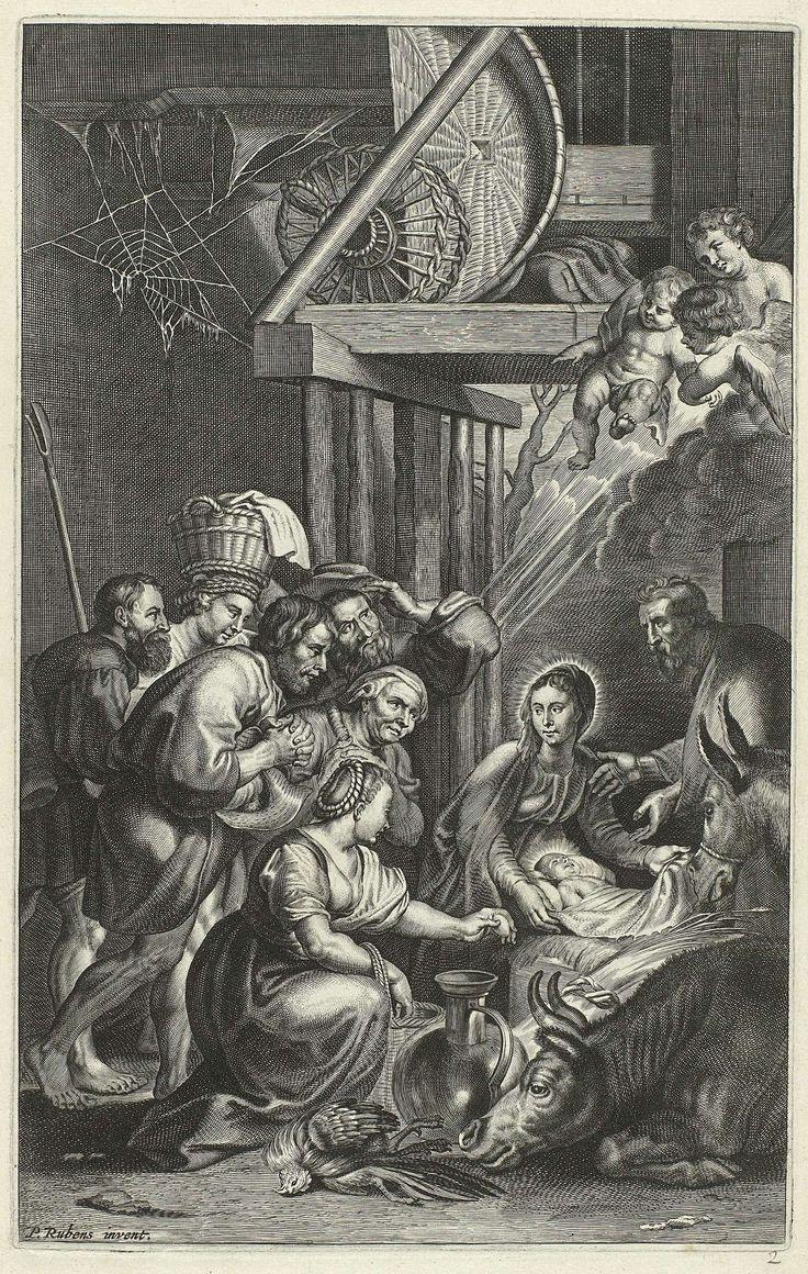 anoniem | Aanbidding der herders, possibly François Stuerhelt, c. 1600 - 1652 | Rechts Maria met het Kind, Jozef, de os en de ezel. Boven hen een paar engeltjes. Links een groepje mannen en vrouwen in aanbidding. De prenten RP-P-2007-181 t/m 190 zijn, samen met 6 lege bladen, met touw gebundeld. De prenten zijn met pen en inkt genummerd 1 t/m 10, nr. 2.