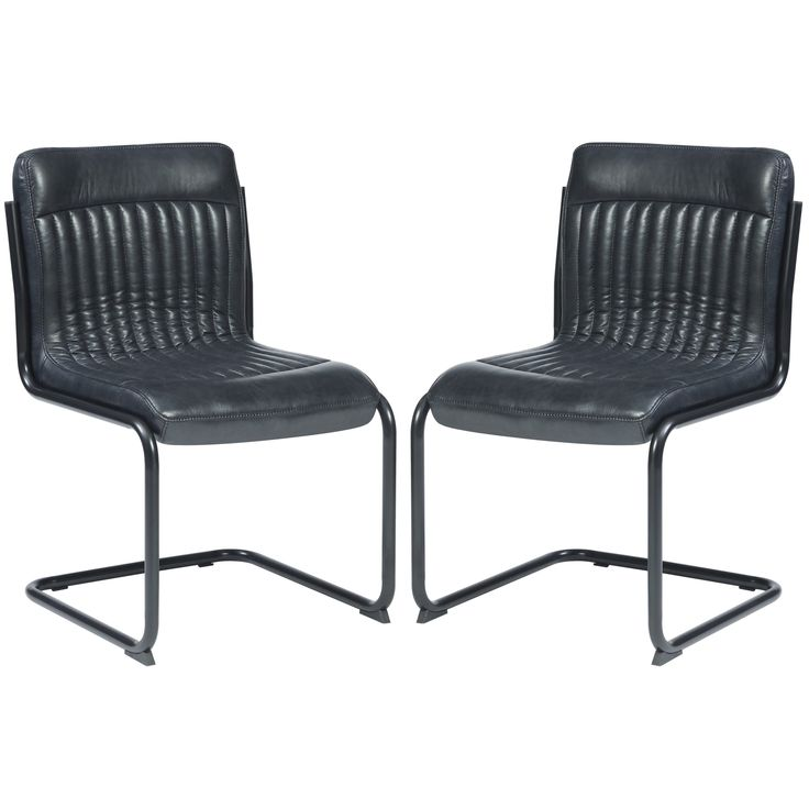 Rino Rustic Retro Designed Dark Grey Upholstered Dining Chairs (Set of 2) (Dark Grey, Set of 2) (Faux Leather)
