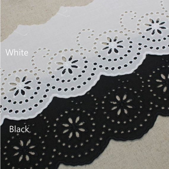 """14y Embroidery Broderie Anglaise Eyelet Lace Trim wide 4.3""""(11cm) YH1482-14 laceking"""