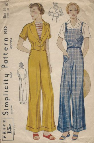 1930s Vintage Sewing Pattern B34 OVERALLS TROUSERS & JACKET (1259) | eBay