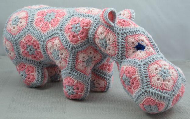 Pink and grey blue-eyed hippo. Made using Heidibears happypotamus pattern