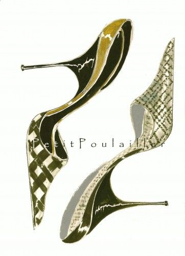 Manolo Blahnik Shoe Fashion Illustrations To Frame ... in my shop now!