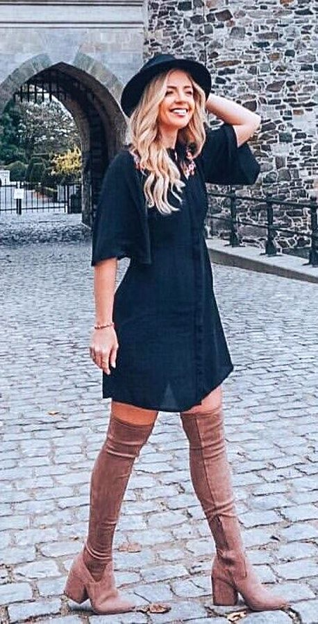 ba311148db1 Winter Fashion  45 Cute Winter Outfits to Copy Now ⋆ BrassLook. Women s  black elbow-sleeved dress and brown leather knee-high chunky heeled boots