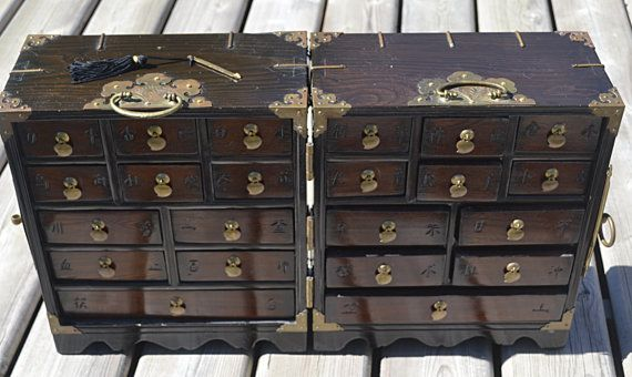 Vintage Wood Jewelry Box Apothecary Case Asian by Collectitorium