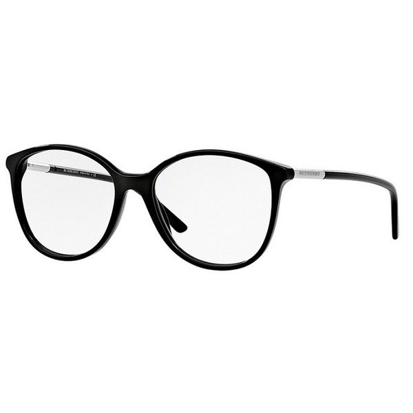 Burberry BE2128 3001 Black Eyeglasses (2.683.145 IDR) ❤ liked on Polyvore featuring accessories, burberry glasses, plastic glasses, burberry eyeglasses, black plastic glasses and burberry