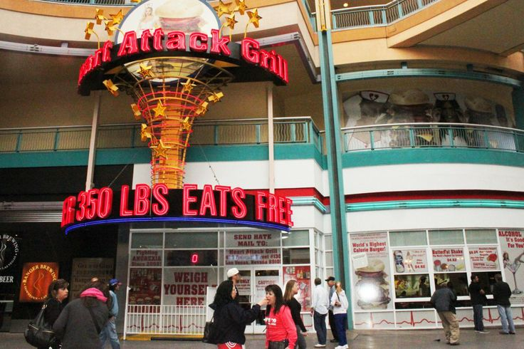 At the Heart Attack Grill in downtown Las Vegas, everyone who weighs over 350 pounds eats for free.