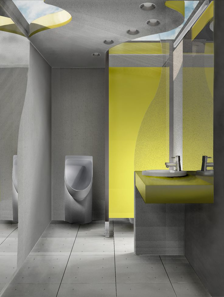 Interior visualization. Public toilet with additional social function in Plock, Poland. Competition entry.