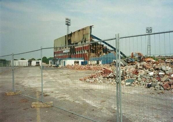 Springfield Park, former home of Wigan Athletic, during demolition