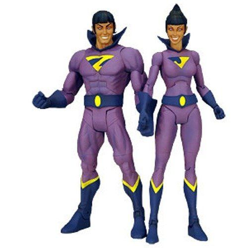 DC Universe Classics 2009 SDCC San Diego Comic-Con Exclusive Action Figure 2-Pack Wonder Twins (NO Gleek!) by Mattel. $65.00. Wonder Twins, Zan and Jayna, are available for the first time in Mattel's DC Universe Classics line sculpted by the world famous Four Horsemen with the articulation and detail you have come to expect from this award winning line! Figures are available in special window box packaging complete with character accurate accessories as well as amazing light...