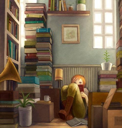 Jovencita leyendo stacks of books in a treehouse