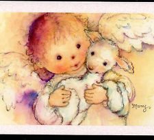 MINT..! MARY HAMILTON ANGEL CHILD CUDDLES CHRISTMAS LAMB,HALLMARK GREETING CARD