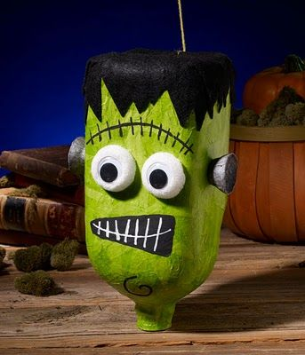 Make a Halloween Pinata with a Milk Jug, Tissue Paper and Mod Podge!  Kids love this!!