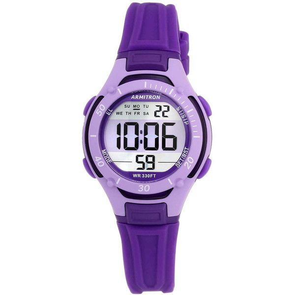 Armitron Pro-Sport Womens Purple Resin Strap Chronograph Sport Watch... (£24) ❤ liked on Polyvore featuring jewelry, watches, chronograph watch, alarm chronograph watch, alarm wrist watch, armitron watches and sport chronograph watches