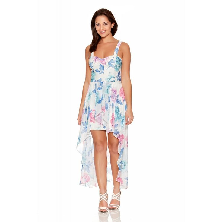 This beautiful dress is perfect for the brighter months. With an all over flower print withb right colours and chiffon dip hem, this will look great with chunky heels - Perfect for a wedding guest outfit.