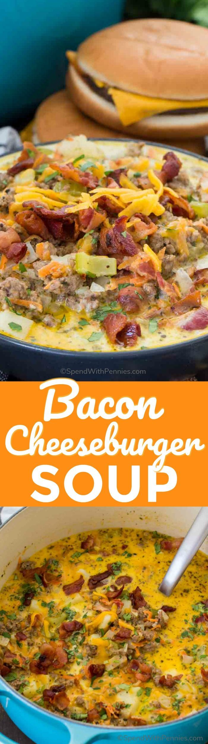 Bacon Cheeseburger Soup is a hearty and creamy take on America's favorite cheeseburger. The soup is full of flavor, easy to make and comforting. #spendwithpennies #baconcheeseburger #soup #easyrecipe #weekdaymeal #heartymeal #cheeseburger #bacon