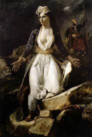 Grecia expirante entre las ruinas de Missolonghi (Eugène Delacroix) Que representa una mujer simbolizando a Grecia, que luchaba contra los turcos por obtener su independencia, está vestida con el traje tradicional griego y detrás un jenízaro otomano, símbolo de la opresión.