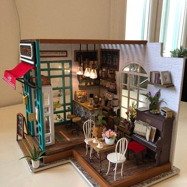 DIY Handcraft Miniature Project Dolls House Model Cottage Cabin Pale Blue Coast
