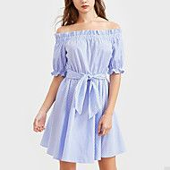 Women's Off Shoulder/Fine Stripe Going out Casual/Daily Sexy Street chic Pleated Bow Backless Dress Boat Neck Above Knee  Length Sleeve High Rise