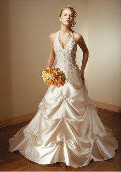 Sirène halter tribunal train robe de mariage en satin tulle