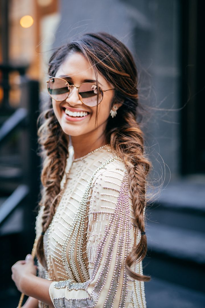 haute off the rack, tresemme hairstyles, double braided hairstyle, parker dress, michelle beaded dress, rayban rose gold sunglasses, women's fashion, luxyhair extensions, holiday style, holiday fashion