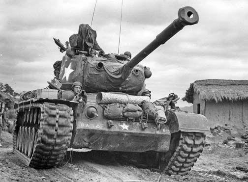 M-46 Patton tank, Village of Kumko, Korea, September 1950