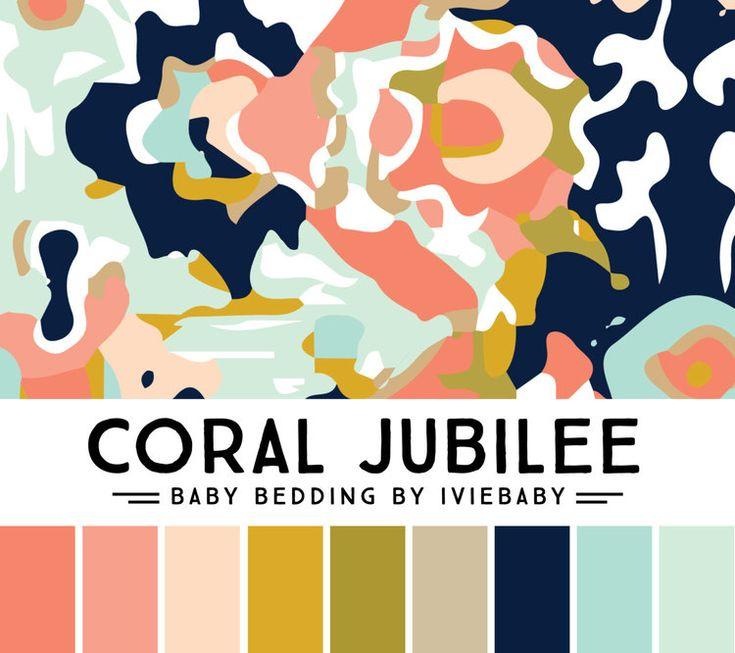 coral mustard navy aqua color palette