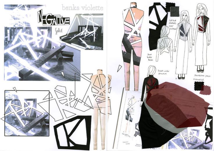 Fashion Sketchbook - research and fashion design development; geometric fashion & negative space // Ashley Victoria
