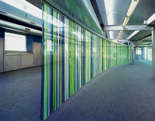 m3, Sliver, 2002: a customised multicoloured transparent perspex panel curtain/room divider. De Key Office, Amsterdam.