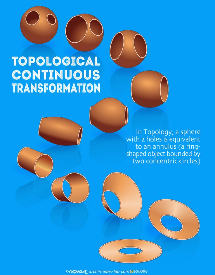 """Topological Continuous Transformation: In Topology, a sphere with 2 holes is equivalent to an annulus (a ring-shaped object bounded by two concentric circles). More from our book """"Impossible Folding Puzzles and Other Math Paradoxes"""": http://www.amazon.com/gp/product/0486493512/archimelabpuz-20 See it and comment on my FB page: https://www.facebook.com/ArchimedesLab/photos/a.10151492280407762.1073741828.73313742761/10152453841662762/?type=1&theater"""