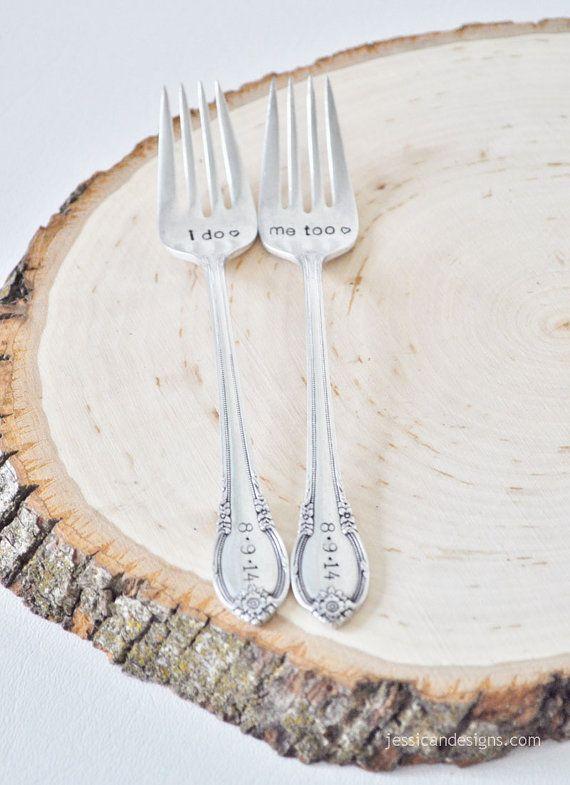 I do. Me too. Vintage Wedding Cake Fork Set by jessicaNdesigns. Wedding, wedding gift, wedding forks