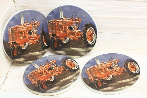 Farmall Tractor, Tractor decor,  Farm Coaster, vintage tractors, country coasters, gifts for farmers #coasterfurnitureetsy #coasterfurnituredecor