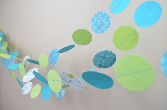 Blue and Green garland Birthday decoration party by MilestonesandPebbles, $14.98 https://www.etsy.com/shop/MilestonesandPebbles?ref=related-shop-35