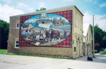 This mural, painted by the late Allen C. Hilgendorf, is a landmark in Tiverton, Ontario, a scenic village within the Municipality of Kincardine