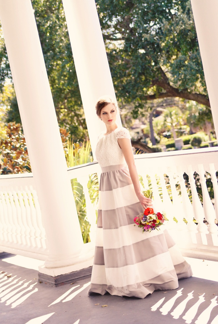 striped wedding dress shoot