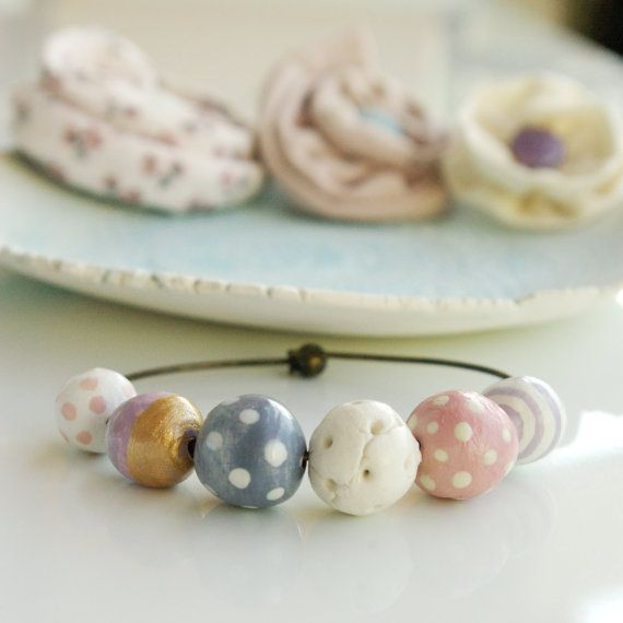 bangle bracelet, hand formed and hand painted beads, sweet pastel colours, dots and stripes, bit of gold FREE SHIPPING