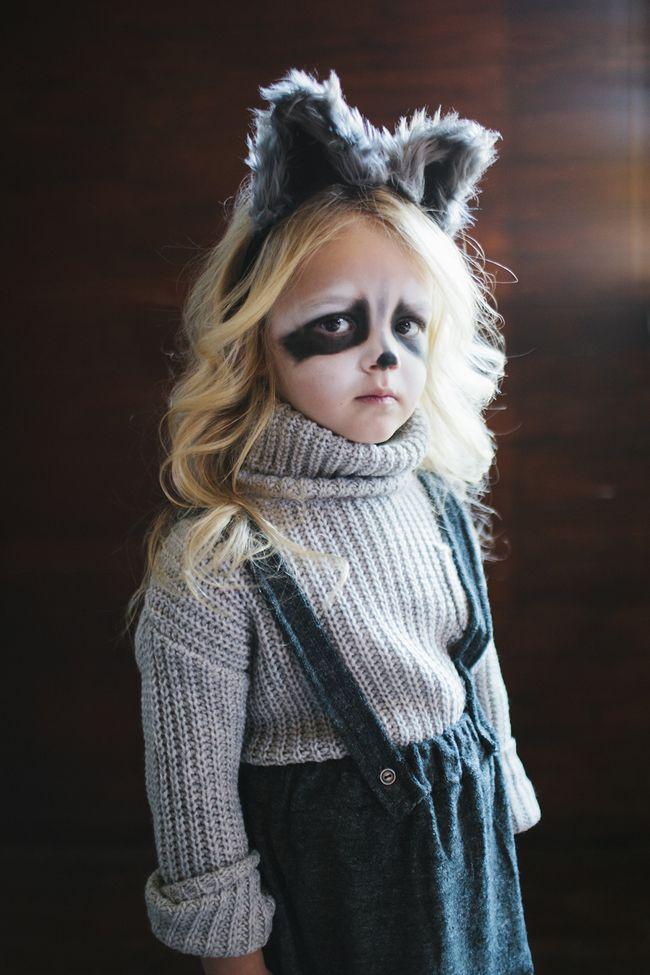 Kids woodland Halloween costume ideas. Love this easy raccoon idea!   little peanut magazine #halloween