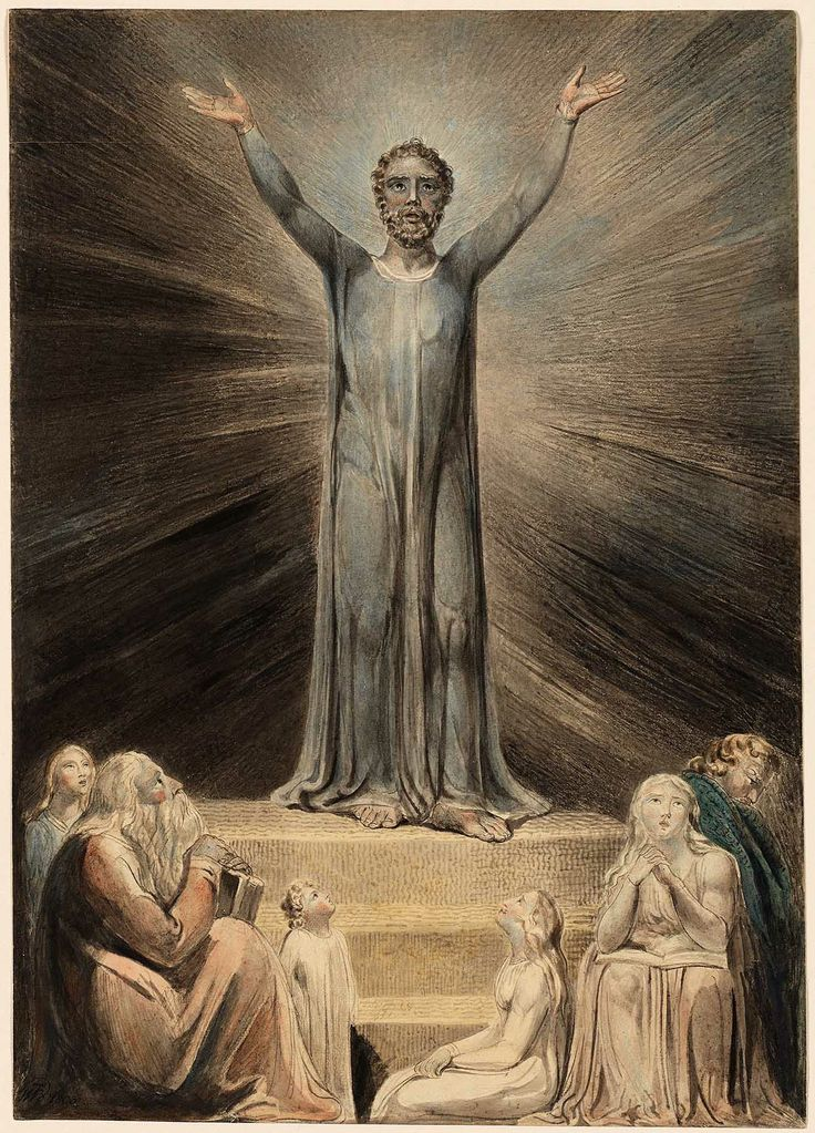 """William Blake: """"St. Paul Preaching in Athens"""" (1803). Illustration for the Bible (New Testament), object 1 (Butlin 507). Black chalk and water color. Rhode Island School of Design Museum of Art, Providence, USA"""