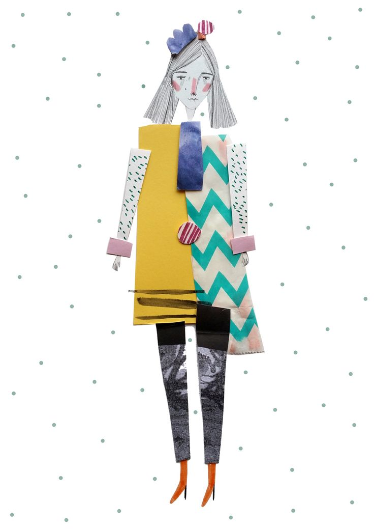 amyisla:  new fashion illustration  Works particularly well with fashion illustration as you have the patterns of the garments. Interesting use of mixed media to create a fun piece, pencil drawings with some ink/water colour and different patterned paper.