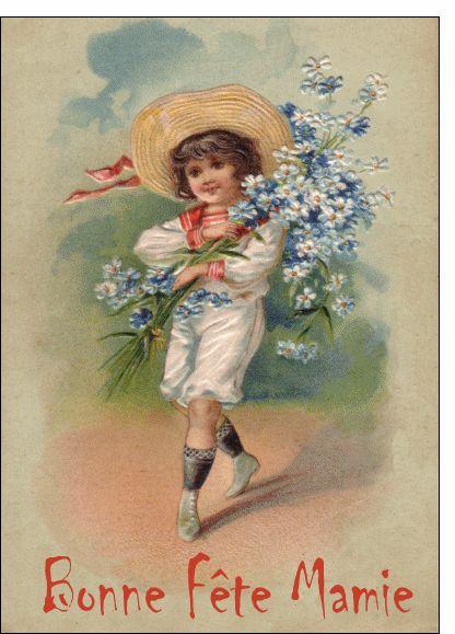 #Carte Enfant avec un bouquet de fleurs pour envoyer par La Poste, sur Merci-Facteur !
